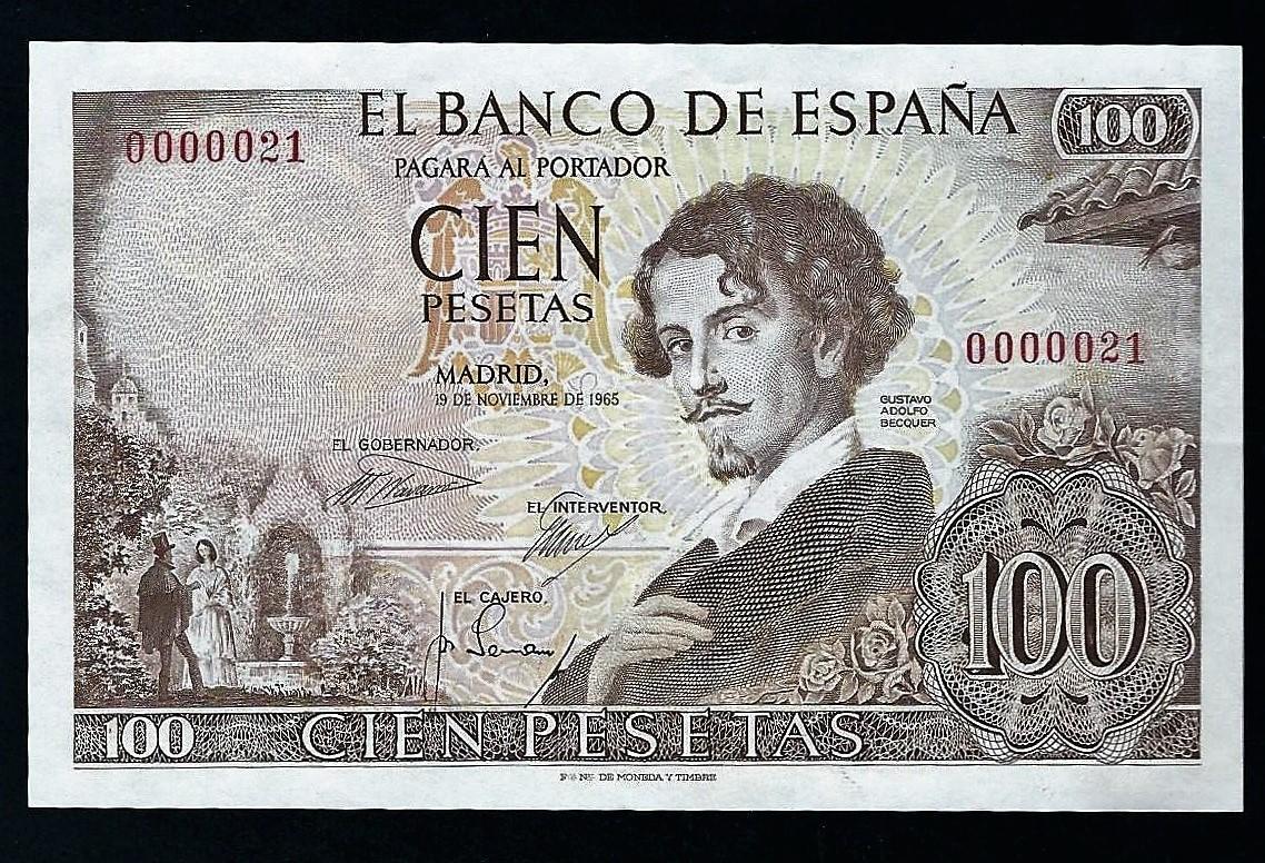 Gustavo Adolfo Bécquer. El billete de 100 pesetas de 1965 ...