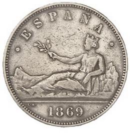Magníficas onzas y un muy raro duro de 1869 en la subasta de Hervera, Soler&Llach y Segarra