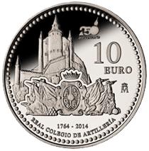 10 Euros plata para celebrar el 250 Aniversario del Real Colegio de Artillería de Segovia
