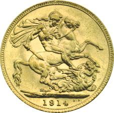 Set del soberano de oro en el Centenario de la Primera Guerra Mundial