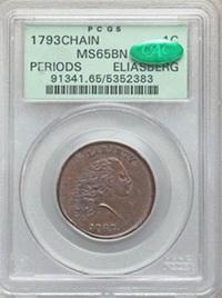 """Un centavo """"chaine"""" de 1793 subastado en 2,35 millones de dólares"""
