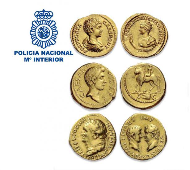 Recuperan tres monedas áureos del Imperio Romano de gran valor histórico y económico