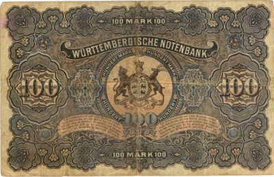 Alemania 100 Marcos 1907 Badische Bank vs. 100 Marcos 1911 Wurttemberg Bank