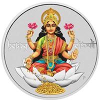 Moneda de plata coloreada para celebra el Diwali 2017