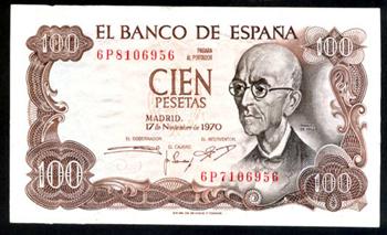 España 100 pesetas 1970 series salteadas