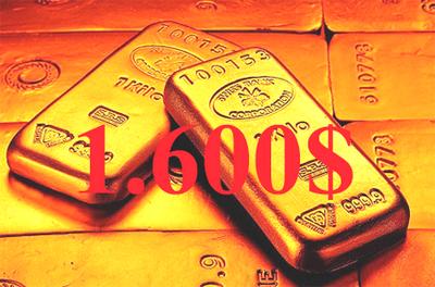 El oro alcanzó los 1.600 dólares onza