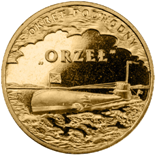 """Submarino polaco """"ORP Orzeɫ"""" en oro nórdico"""