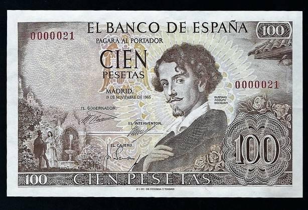 Gustavo Adolfo Bécquer. El billete de 100 pesetas de 1965.