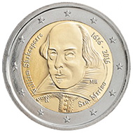 William Shakespeare en 2 euros de San Marino