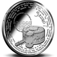 Moneda con la línea defensiva de Ámsterdam