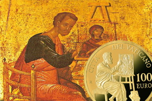 San Lucas Evangelista en 100 euros del Vaticano