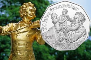 """La Filarmónica de Viena y """"El Danubio Azul"""" en monedas de plata"""