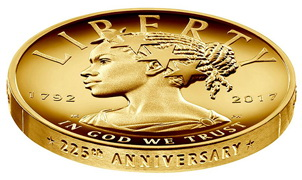 """""""Lady Liberty"""" cambia de raza en 100 dólares oro"""