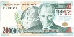 Turquía 20.000.000 Liras de 2001 vs. 20 Liras de 2005