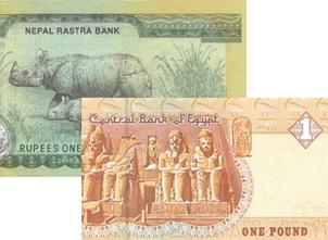 Novedades en Nepal y Egipto: 100 rupias y 1 libra