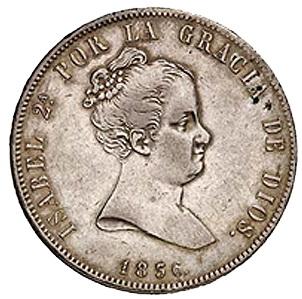 """Primeras acuñaciones en plata, 20 Reales """"Leyenda Monárquica"""""""