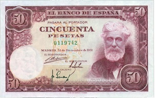 Santiago Rusi�ol: El �ltimo billete de 50 pesetas (1951)