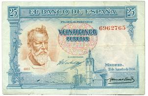 Primer billete dedicado a Sorolla: 25 pesetas de 1936