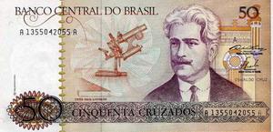 Billete de 50 cruzados fuera de circulación impreso por Casa da Moeda do Brasil