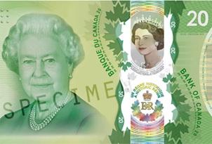 Polímero conmemorativo de 20 dólares canadienses para la reina Isabel II
