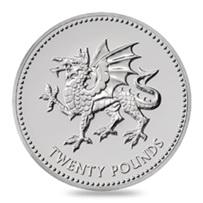 20 Libras de plata para el Dragón de Gales