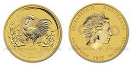 La moneda de oro Año del Gallo 2017 2 oz