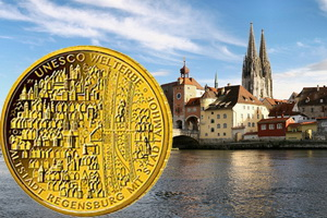 Serie UNESCO de Alemania: Ratisbona en 100 euros oro