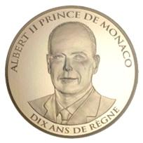 100 Euros en oro para 10 años del principado de Alberto II de Mónaco