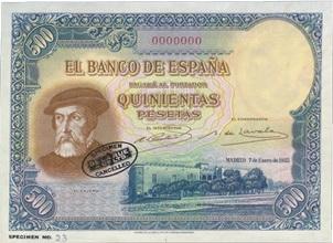 Hernán Cortés en el billete de 500 pesetas de 1935