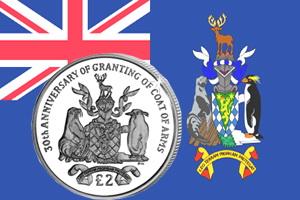 30 Años del escudo de las Islas Georgia y Sandwich del Sur en 2 libras plata