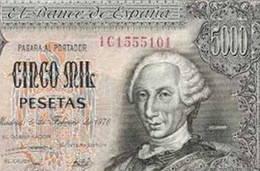 Billete de 5.000 pesetas de 1976 serie 1C, última emitida