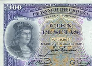 El Gran Capitán en el billete de 100 pesetas de 1931