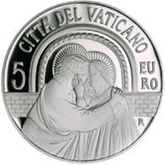 Sínodo de Obispos en el Vaticano recordado en una moneda de 5 euros plata