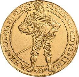 Segismundo III Vasa, rey de Polonia y de Suecia, en un portugalöser de oro