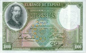 Zorrilla en el billete fantasma (y sus contemporáneos): 1.000 pesetas de 1931