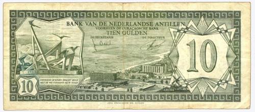 Antillas Holandesas 10 Gulden 1972 Vs. Aruba 10 Florín 1986