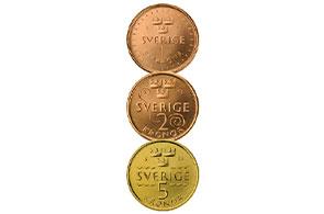 Las nuevas monedas Suecas que no contiene níquel