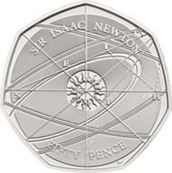 50 peniques del Reino Unido para Isaac Newton y el patrón oro