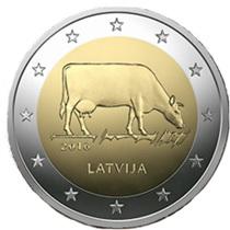 La vaca marrón letona en 2 euros