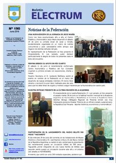 """Boletín """"Electrum"""" número 190, junio 2016"""