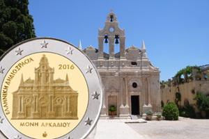 Monasterio de Arkadi y Dimitri Mitropoulos en 2 euros griegos