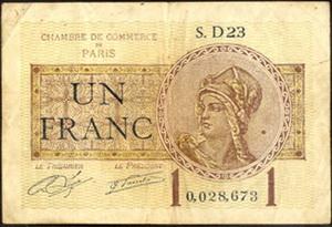 "Francia: 1 Franco 1920 ""Chambre de Commerce de París"" Vs. 1 Franco 1919 ""Mines Domaniales de la Sarre"""