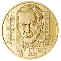 Freud protagonista de una moneda austriaca.