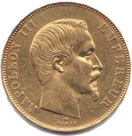 Moneda de Oro 50 Francos Paris Empire Français Napoleon III de 1858