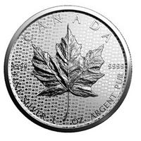 Nuevo lingote de plata con la hoja de arce