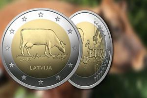 Los 2 euros de Letonia con una vaca
