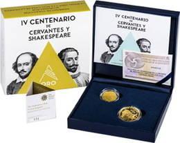 Los set de Cervantes y Shakespeare en oro y plata