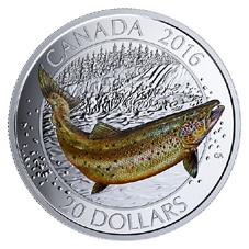 20 Dólares plata para el salmón Atlántico canadiense