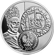 Vladislaw II Jagiello rey de Polonia en un medio Grosz