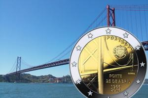 """El Puente """"25 de abril"""" en 2 euros de Portugal"""